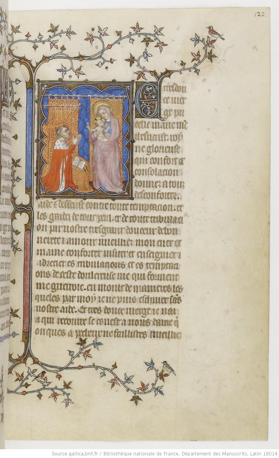 1385-90 Jean de Berry devant la Vierge à l'Enfant Petites heures de Jean de Berry, Gallica MS 18014 fol 122r
