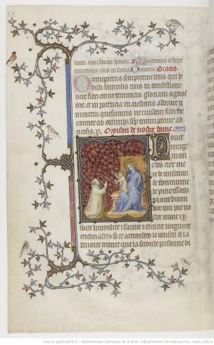 1385-90 Jean de Berry devant la Vierge à l'Enfant Petites heures de Jean de Berry, Gallica MS 18014 fol 198v