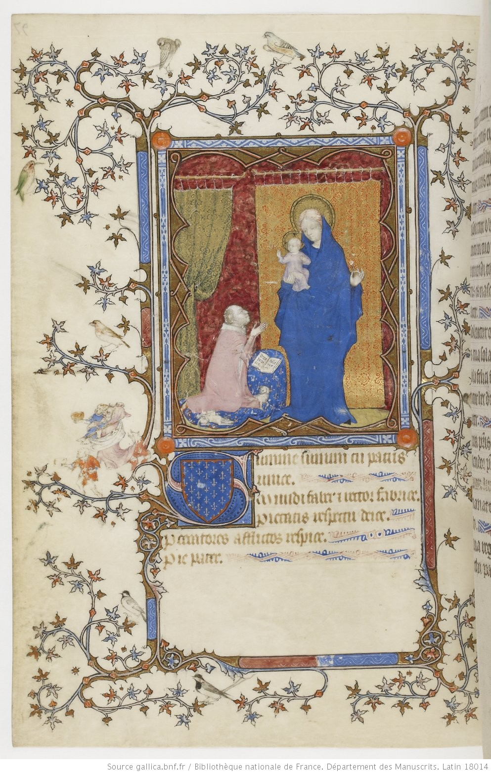 1385-90 Jean de Berry devant la Vierge à l'Enfant Petites heures de Jean de Berry, Gallica MS 18014 fol 97v
