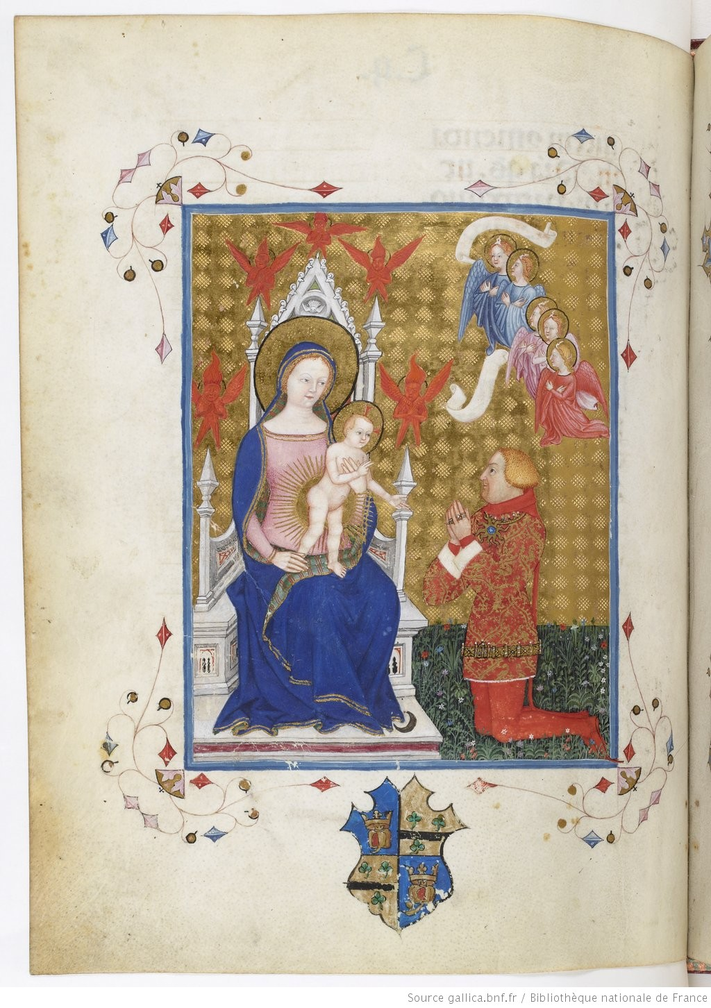 1385 ca Lombard illumination of Madonna and Child with donor, BNF ms. lat. 757, fol. 109v