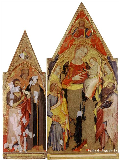 1386 Giovanni del Biondo pala d'altare della Pieve di Romena donatore piovano Jacopo di Mandrioli per remedio, oggi nella Propositura di Pratovecchio,