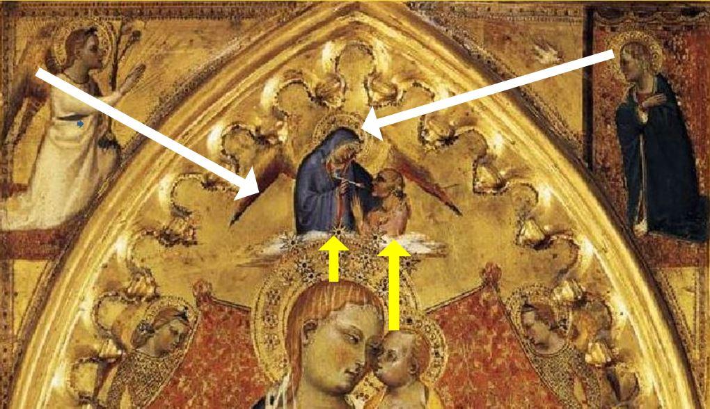 1391 ca Giovanni Del Biondo, la Vierge de l'Apocalypse avec Saints et Anges Pinacoteca vaticana detail