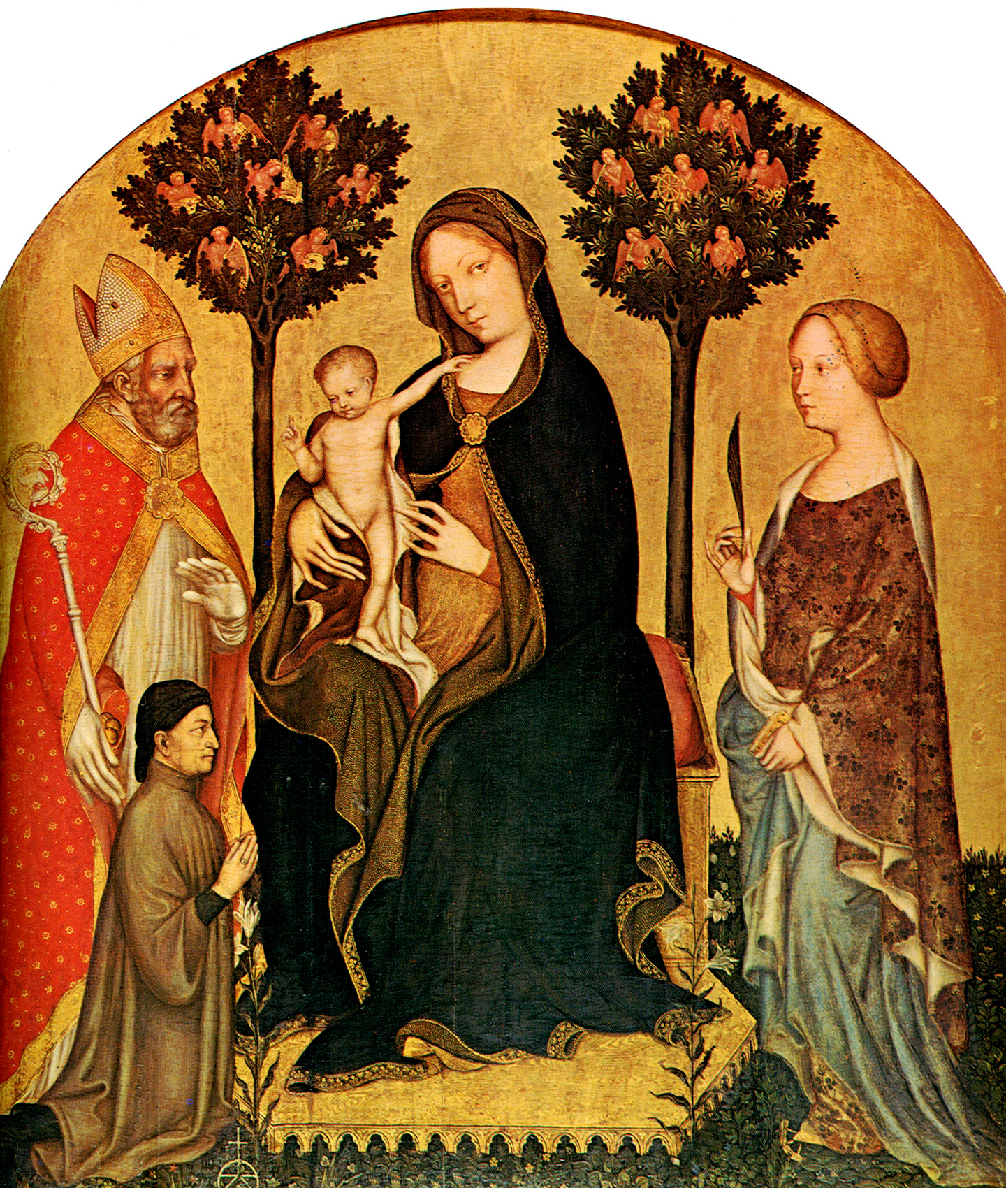 1395 Gentile_da_Fabriano_-_Mary_Enthroned_with_the_Child,_Saints_and_a_Donor_-_Gemaldegalerie Berlin