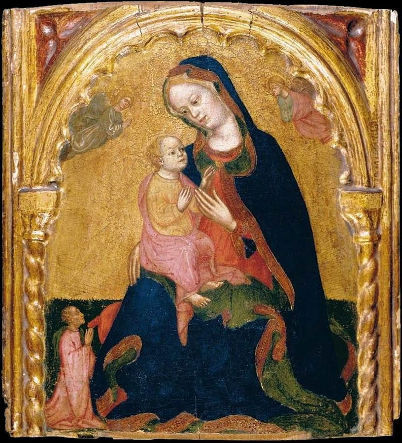 1400-50 Zanino_Di_Pietro_-_Madonna_of_Humility_with_a_Donor_and_Angels_-coll priv