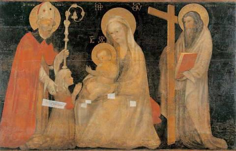 1400-99 Giovanni Badile attr Pala della Levata Madonna con Bambino tra san Nicola di Bari, sant'Andrea e la committente Museo di Castelve