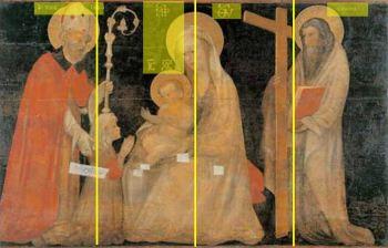 1400-99 Giovanni Badile attr Pala della Levata Madonna con Bambino tra san Nicola di Bari, sant'Andrea e la committente par quatre
