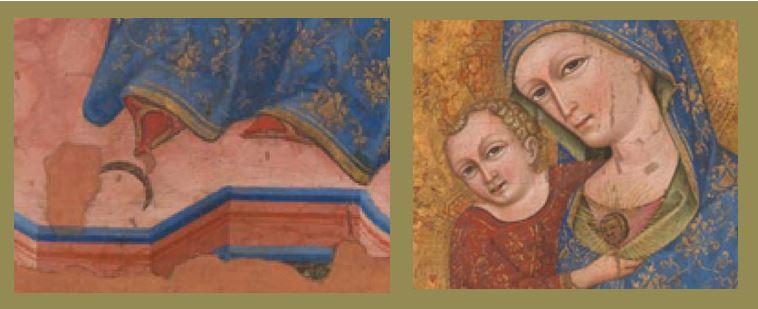 1400 ca Anonyme venitien ou dalmate, Retable de la Vierge National Gallery, Londres, NG 4250 Vierge detail medaillon