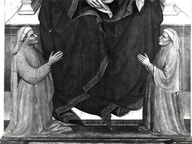 1404 Mariotto di Nardo Madonna con Bambino in trono e donatori Museo del Tesoro della Basilica di S. Francesco Assise detail