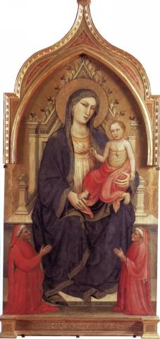 1404 Mariotto di Nardo Madonna con Bambino in trono e donatori Museo del Tesoro della Basilica di S. Francesco Assise