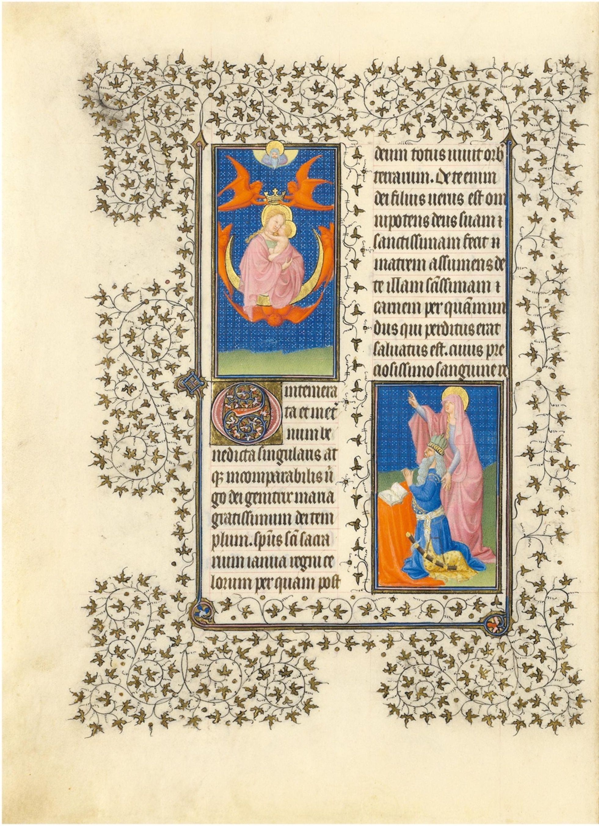 1405-09 Belles Heures du duc de Berry - f26v - La Vierge Aracoeli, l'empereur Auguste et la sibylle de Tibur MET