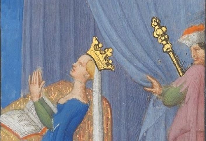 1406-09 Freres Limbourg, , MET, 54.1.1 fol 91v detail