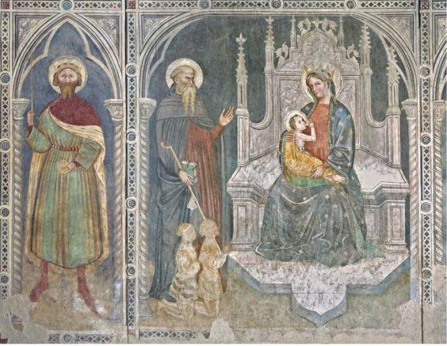 1410-20 Giovanni Badile San Sigismondo Sant'Antonio due cavalieri Madonna lactansi Museo Bassano del Grappa salle capitulaire eglise sanFrancesco