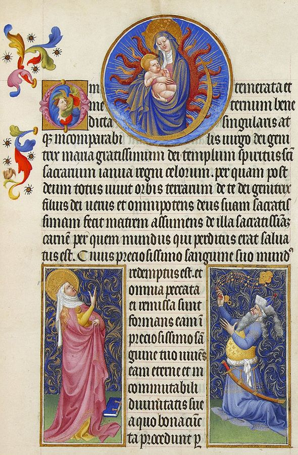 1411-16 Très Riches Heures du duc de Berry Folio_22r_-_The_Virgin,_the_Sibyl_and_the_Emperor_Augustus