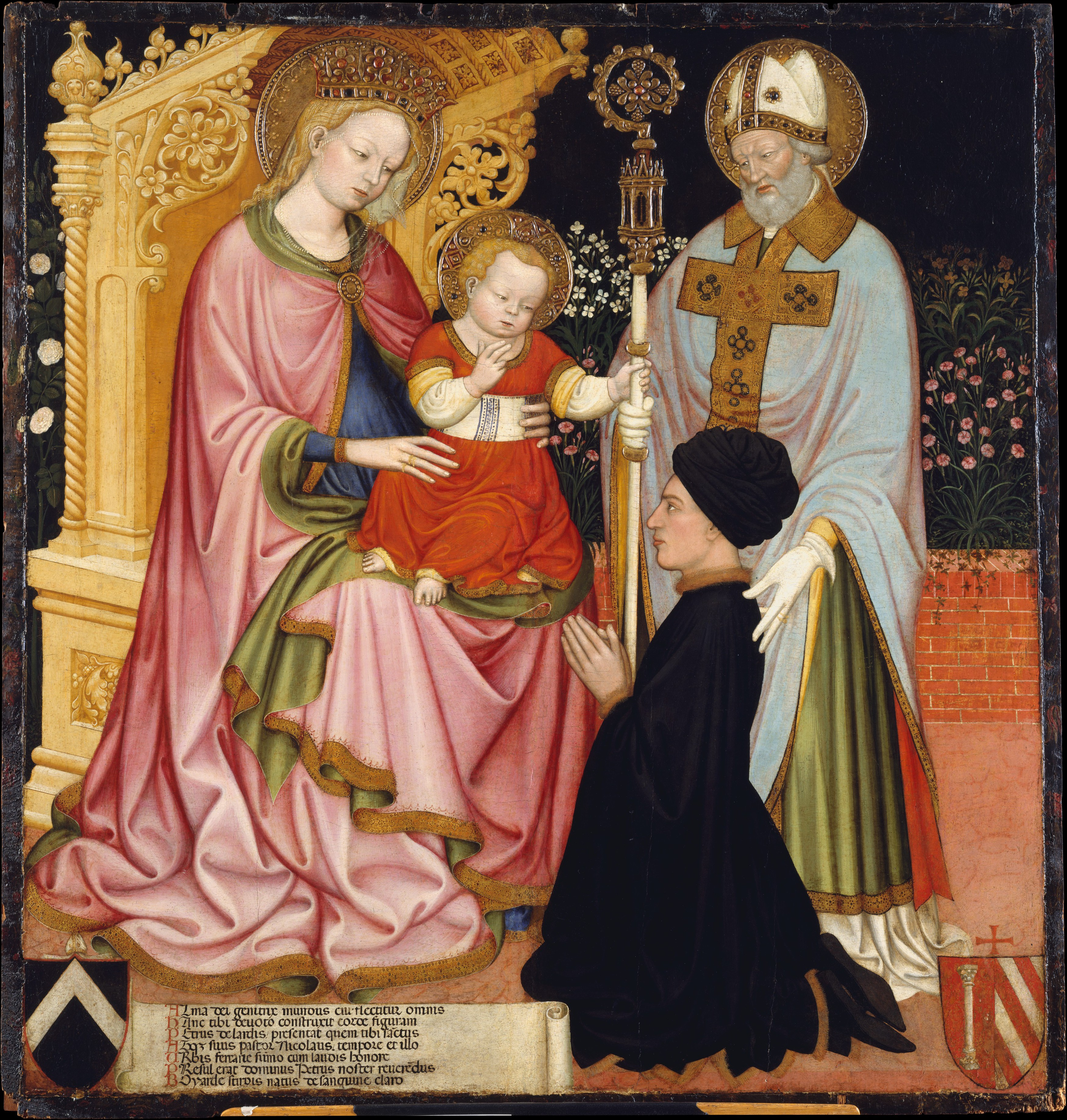 1420-30 Master GZ Madonna and Child with the Donor, Pietro de Lardi Presented by Saint Nicholas, MET