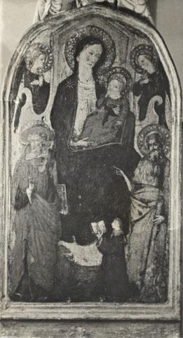 1420-60 Ventura di Moro, Madonna con Bambino in trono, san Girolamo, san Giovanni Battista, angeli e donatore coll priv