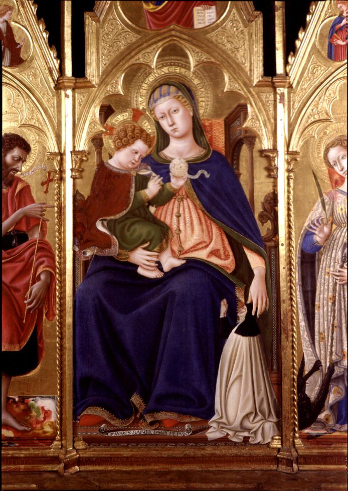 1438 Domenico di Bartolo, Madonna con Bambino in trono e donatrice Pinacoteca Nazionale, Perugia detail