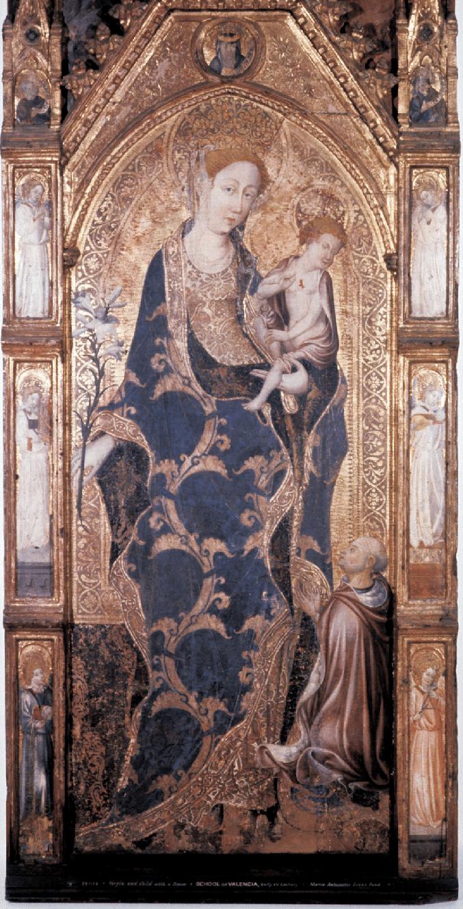 1440-1451, Goncal Peris Sarria y taller, Virgen con el Nino y el cardenal Alfonso de Borja futur papa Callixte III, Museum of Fine Arts, Boston