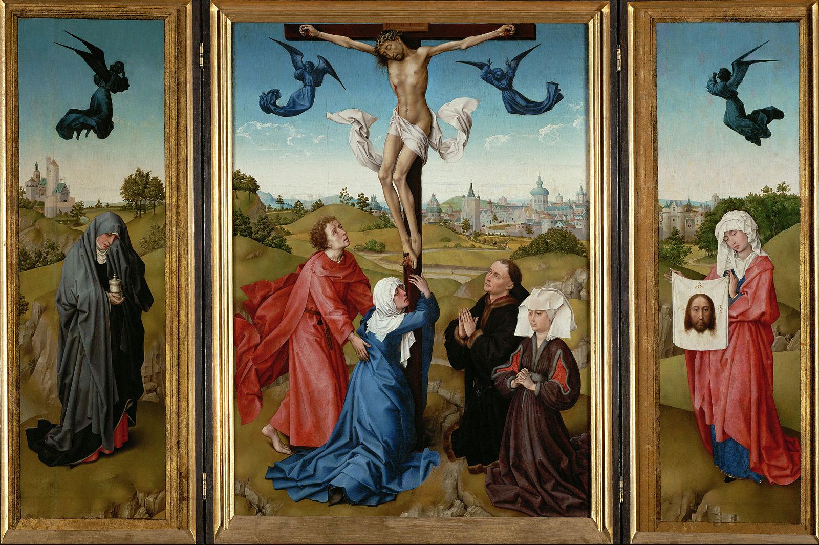 1443-45 Rogier_van_der_Weyden_-_Triptych-_The_Crucifixion_-Kunsthistorisches museum Vienna