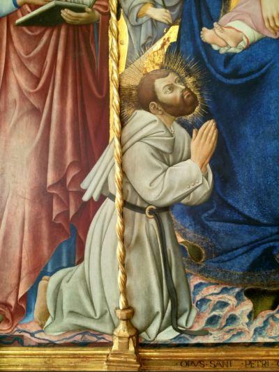 1444 Sano di Pietro, beato Giovanni Colombini tra san Domenico Girolamo Agostino Francesco Cosma Damiano Pinacoteca nazionale, Sienne detail