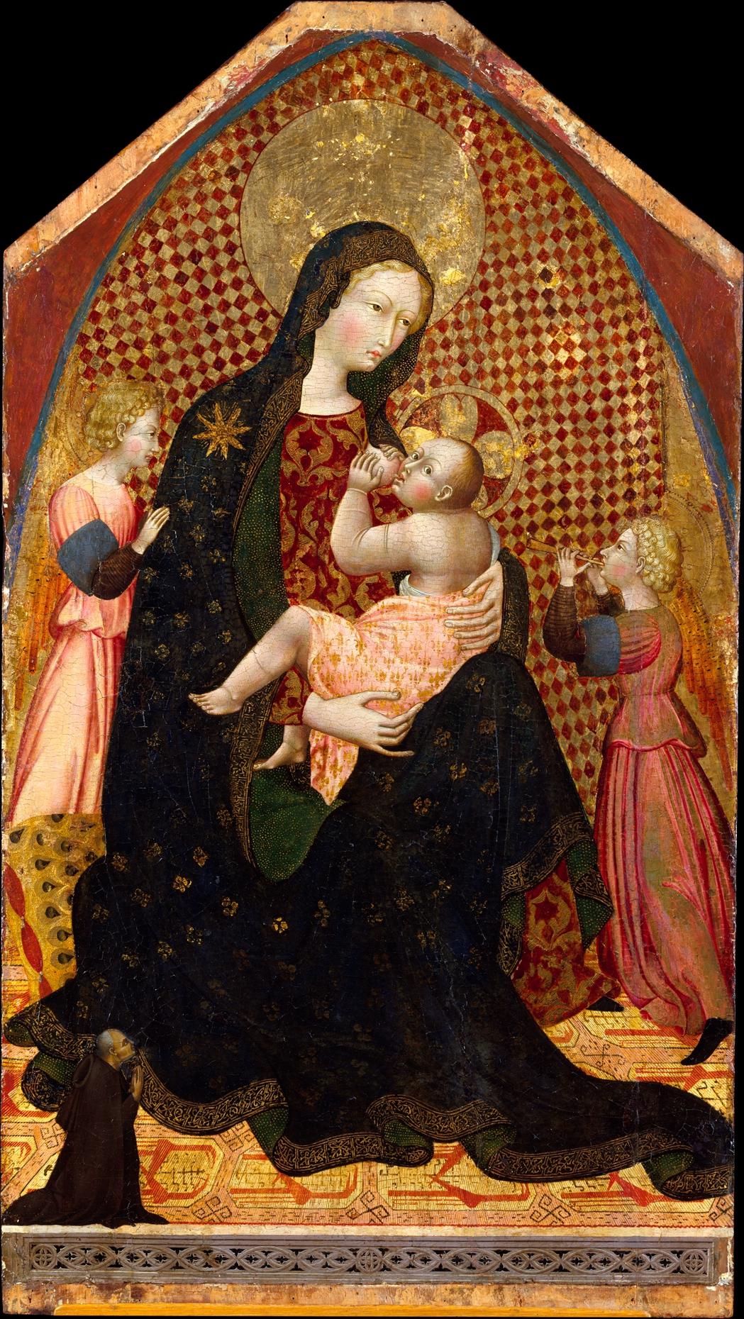 1445 ca Giovanni di Paolo Vierge de l'Humilite avec deux anges et un donateur inconnu MET