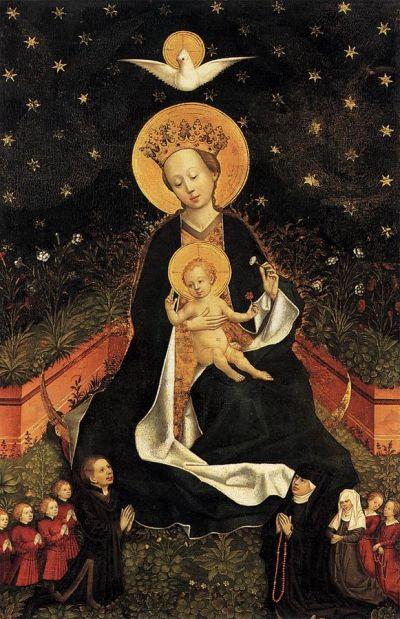 1450 Maitre de 1456 Cologne _Madonna_on_a_Crescent_Moon_in_Hortus_Conclusus gemaldegalerie