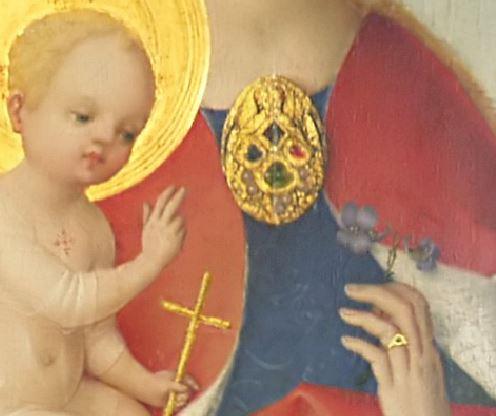 1450 avant Stefan_Lochner_-_Madonna_mit_dem_Veilchen Musee diocesain Kolumba Cologne detail