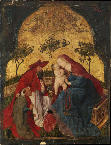 1450 ca Virgin and Child with a Donor Presented by Saint Jerome, Master of the Munich Bavarian pannels MET