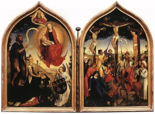 1452-70 Rogier van der Weyden atelier - dyptique jeanne de france Chantilly, Musee Conde