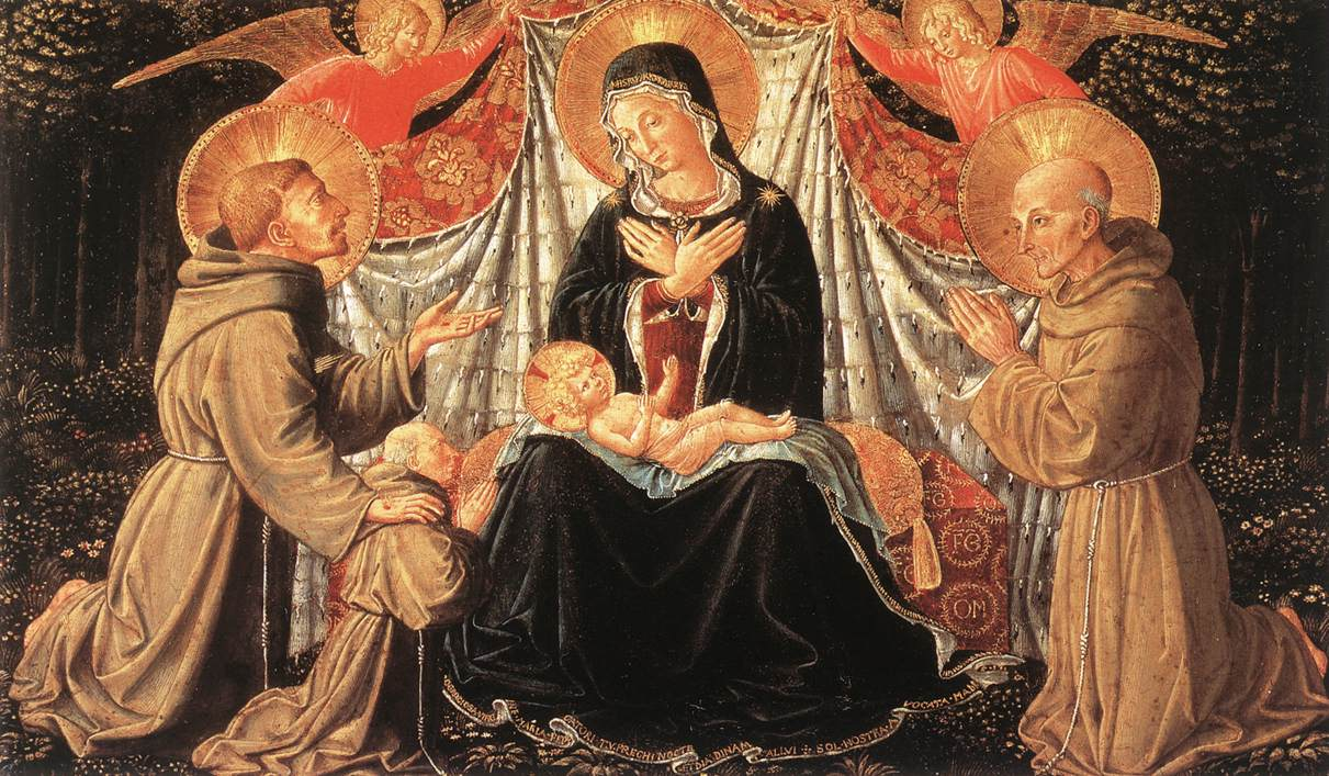 1452 Benozzo_Gozzoli_-_Madonna_and_Child_with_Sts_Francis_and_Bernardine,_and_Fra_Jacopo_-Kunshistorisches Museum Wien