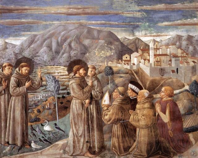 1452 Benozzo_Gozzoli_Saint François prechant aux oiseaux devant Montefalco, eglise San Francesco, Montefalco