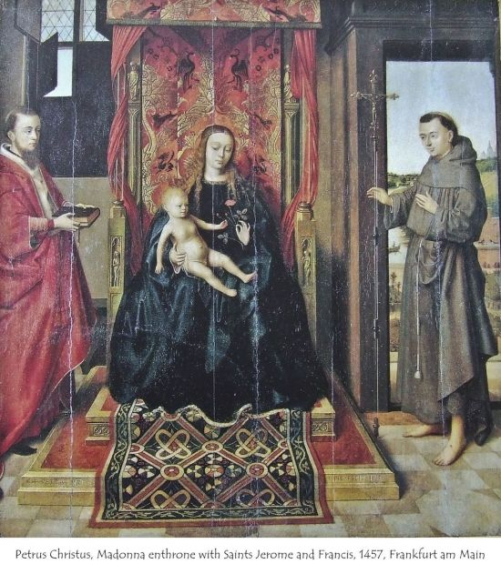 1457 Petrus Christus, Madonna and Child Enthroned with Saints, Frankfurt, Stadelsches Kunstinstitute