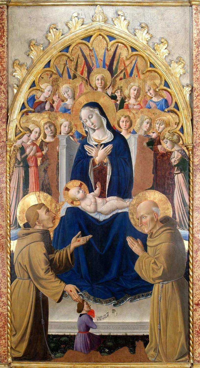 1458 Nicolo Alunno Madonna dei Consoli Francesco d'Assisi, san Bernardino da Siena Pinacoteca comunale, Deruta