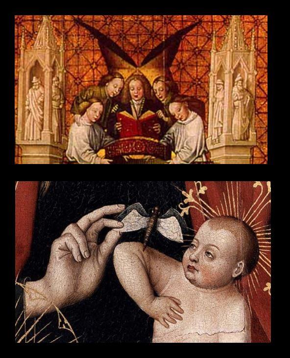 1459 Vierge au papillon Epitaphe du chanoine Pierre de Molendino.St-Paul's Cathedral, Liege detail papillons