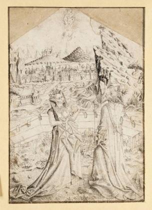1460-67 Maitre ES La Vierge et l'Enfant apparaissant à Auguste et à la Sibylle Tiburtine dessin Louvre INV 18842, inverse