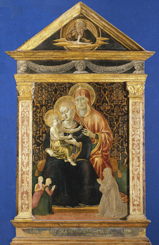 1460-70 Benozzo Gozzoli, Madonna con Bambino, sant'Anna e donatori, Museo Nazionale di S. Matteo, Pisa c www.museobenozzogozzoli.it