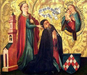 1460 ca Maitre_de_Rheinfelden Sainte_Barbe_presentant_le_donateur_à_la_Vierge Musee des beaux-arts de Mulhouse