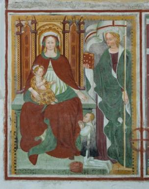 1461 Baschenis Antonio fresque Madonna con Gesù Bambino in trono, Sant'Orsola e donatore Santo Stefano church, Carisolo