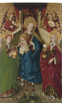 1465-1470 master-of-the-pottendorf-votive-panel-the-virgin-and-child-enthroned-with-angels,-with-saints-dorothea-and-barbara