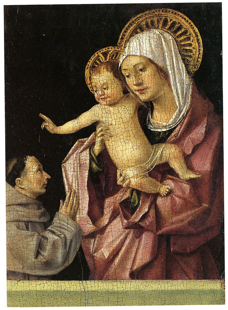 1465-70 Antonello da messina MADONNA COL BAMBINO E UN DONATORE FRANCESCANO Museo Regionale Messina