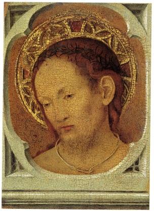 1465-70 Antonello da messina MADONNA COL BAMBINO E UN DONATORE FRANCESCANO Museo Regionale Messina reverse ecce homo