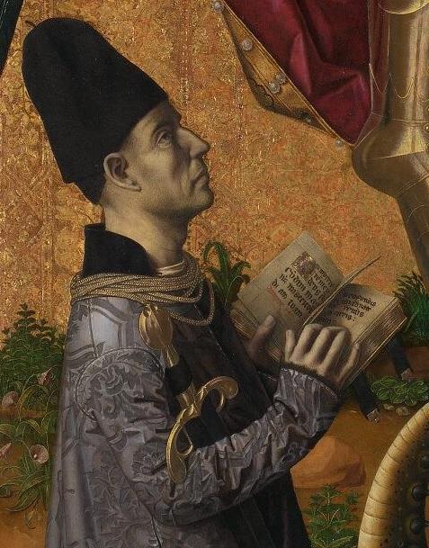 1468 San Michele trionfa sul diavolo. Bartolome Bermejo National Gallery detail