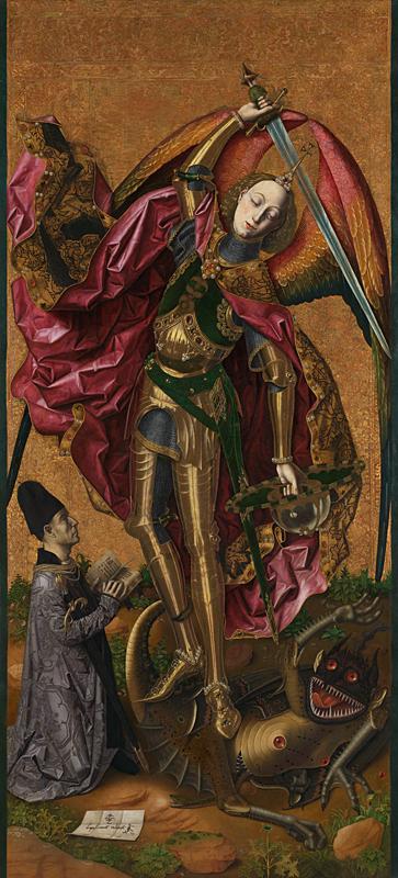 1468 San Michele trionfa sul diavolo. Bartolome Bermejo National Gallery