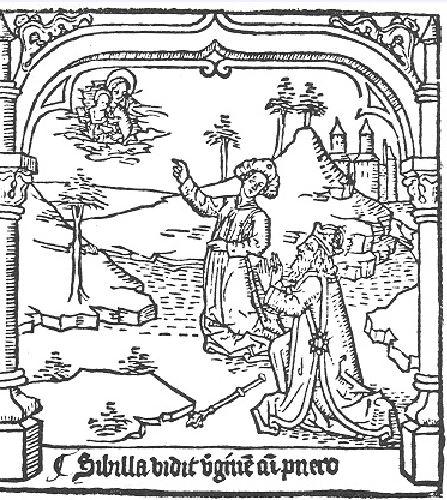 1468 Speculum humanae salvationis Sibilla vidit virginem cum puero Pays Bas Premiere ed latine droite