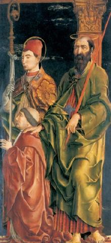 1470-74 Cosme Turra Polittico Roverella Santi Maurelio e Paolo con Niccolo Roverella