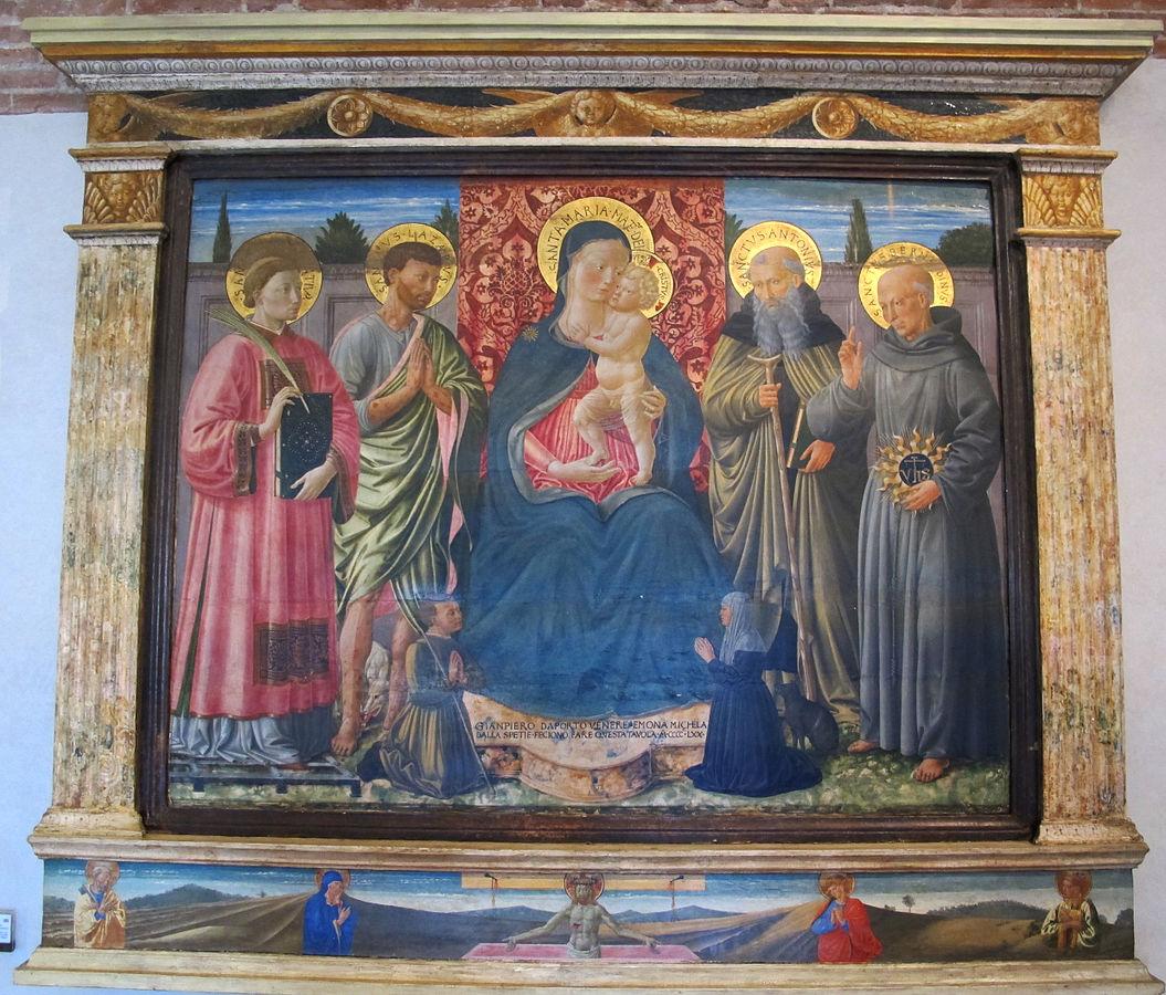 1470 Allievo_di_benozzo_gozzoli,_madonna_col_bambino_e_santi_dall'università_dei_cappellani_del_duomo_di_pisa
