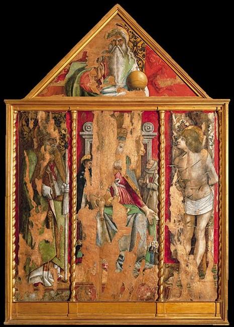 1472 Crivelli, premier triptych of the Valle Castellamo Pinacoteca, Ascoli Piceno,