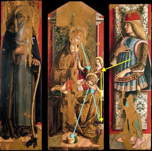 1472 Crivelli, second triptych of the Valle Castellamo Pinacoteca, Ascoli Piceno schema