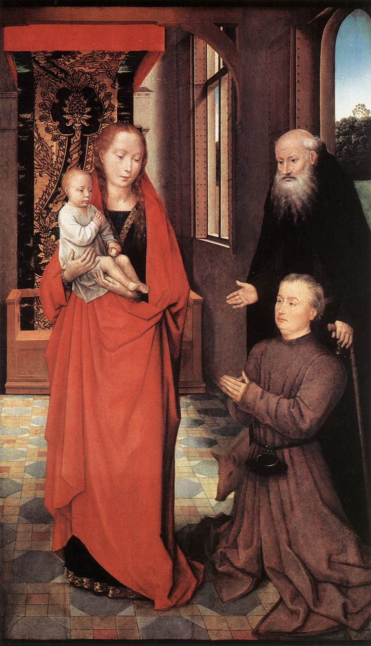 1472 Hans_Memling_-_Virgin_and_Child_with_St_Anthony_the_Abbot_and_a_Donor_-_WGA14849 Musee des Beaux-Arts du Canada