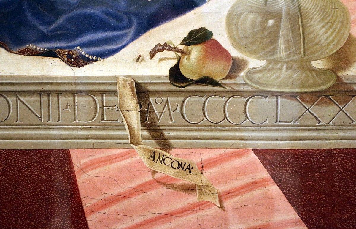 1472 Nicola di Maestro Antonio di Ancona, san Leonardo,Girolamo,Giovanni Battista, Francesco d'Assisi Carnegie Museum detail