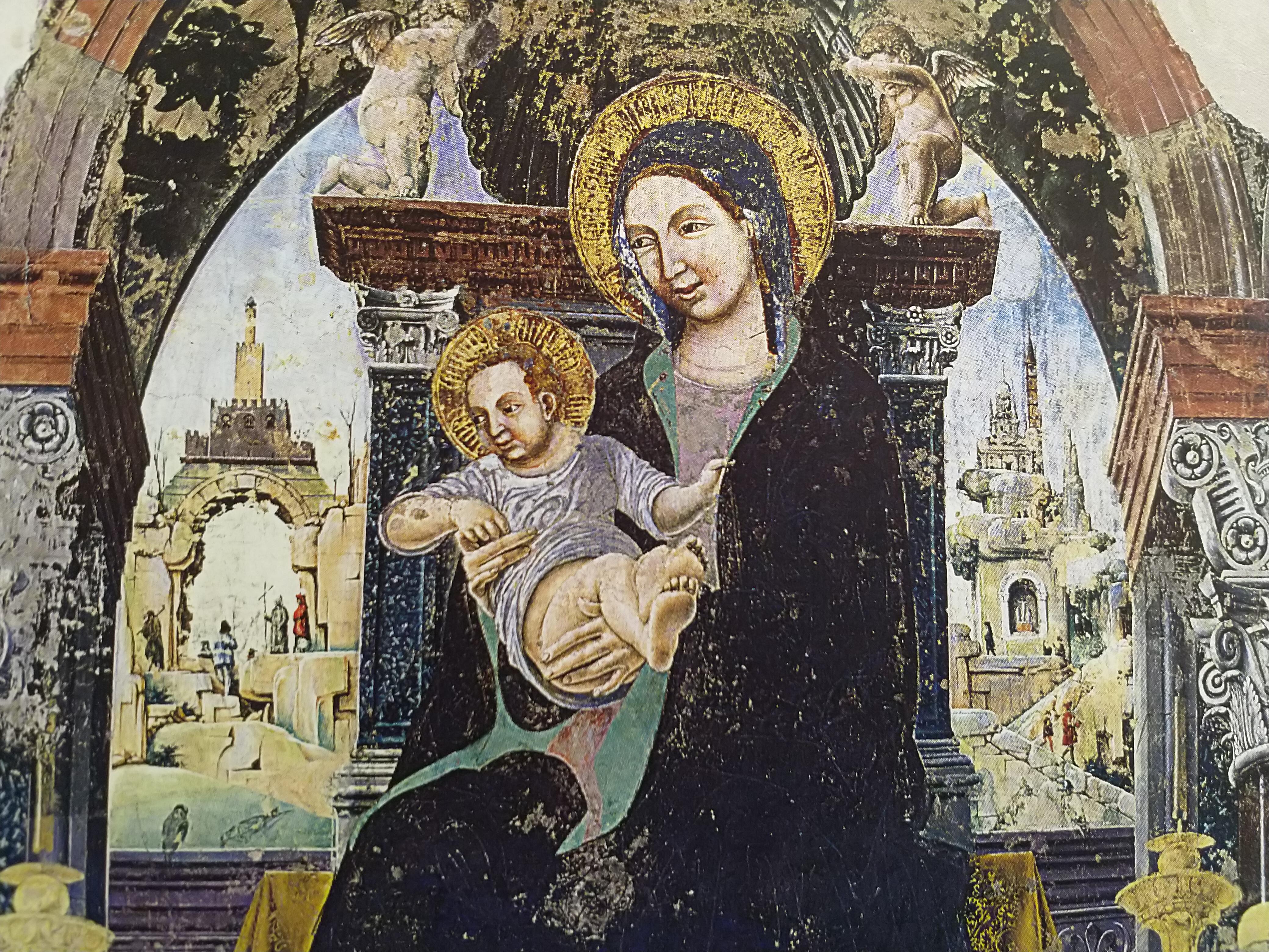 1472 francesco-cossa-madonna-del-baraccano chiesa del baraccano Bologne detail fond